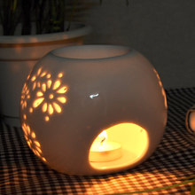Essential Aroma Oil Burner Round shape ceramic candle warmer and Wholesale
