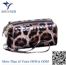 OEM Leopard womens custom print logo leather cosmetic bag travel leather makeup bag