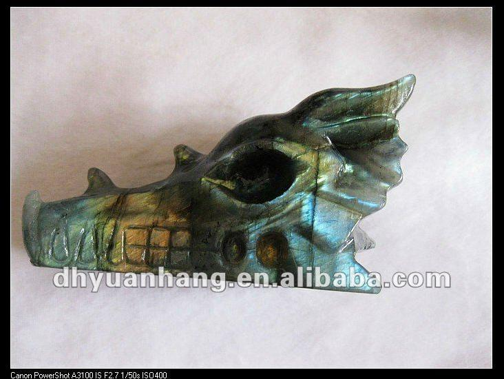 natural labradorite dragon heads, small crystal dragon head carvings