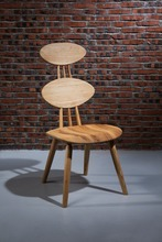 Modern style sennit combine circle back North American ash wood dining chair with arms