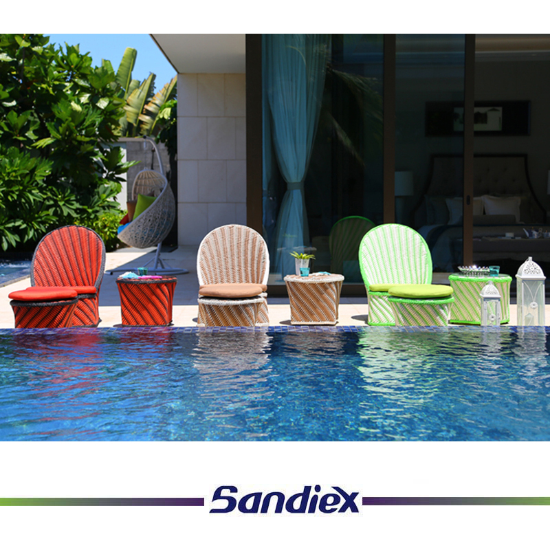 Multicolored 3 Pieces Outdoor Pool Side Beach Wicker Rattan Lounge Set With Ottomans Cushion Tea Table