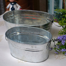 Large Retro Oval Metal Beverage Party Tub / Ice Bucket / Wine Cooler