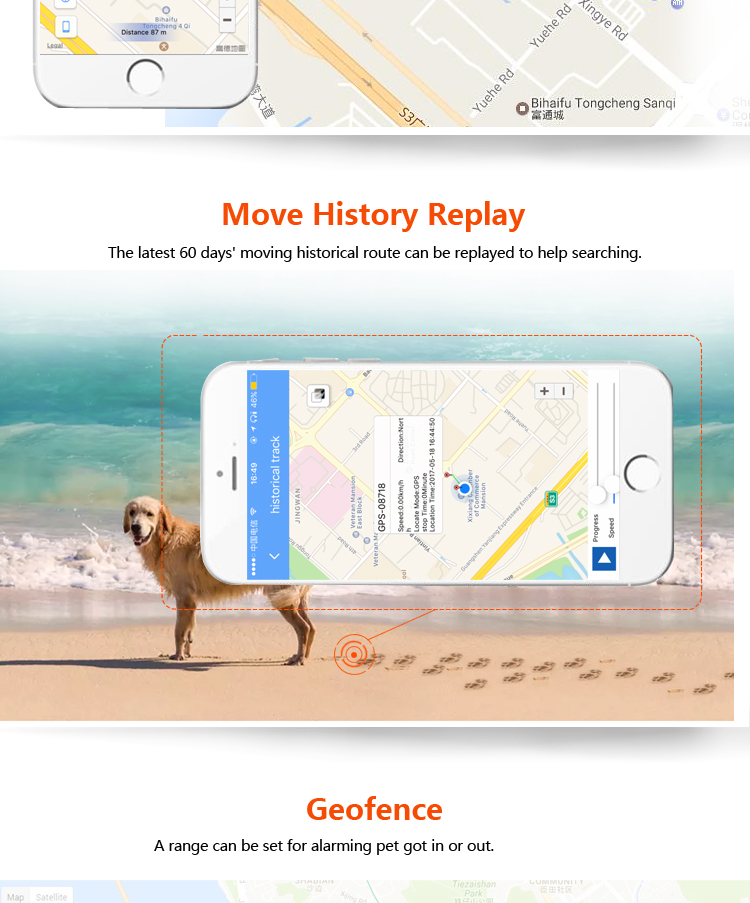 Pet GPS Collar Mini Size GPS Tracker Tracking Device