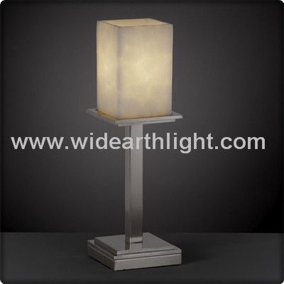 UL CUL Listed Brushed Nickel One Light Hotel Night Stand Table Lamp With Glass Shade T40242