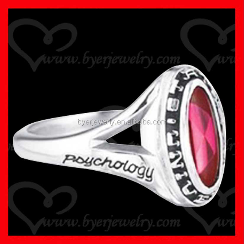 silver class ring high polish deep engraving black painting