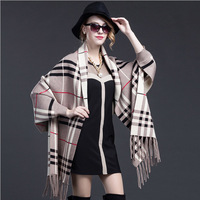 2016 spring ladies mink cashmere Plaid two-sided wear tassel knitted shawls Cape cardigan coat MMY-50037