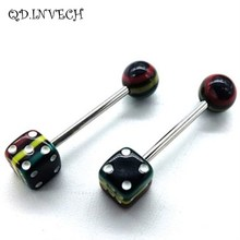 Unique Dice Design Resin Tongue Ring Stud Body Piercing Jewelry