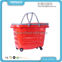 Plastic Shopping Basket With Wheels, Foldable Rolling Shopping Basket, Supermarket Basket With Wheels