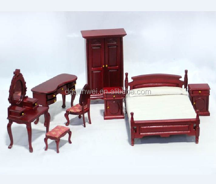 Miniature Dollhouse Furniture Bedroom Cabinet Bed Chair Dresser Set QW60231-8