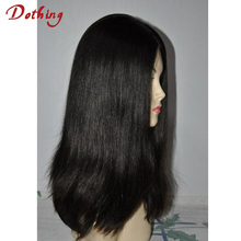"High Quality European Virgin Natural Color 100% Unprocessed Straight Jewish Kosher Human Hair Wigs 16"" Silk Top"