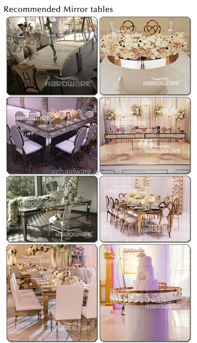 stainless steel base mirrored wedding dining table