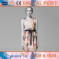 Custom Digital Flower Printed Silk Sexy Dress