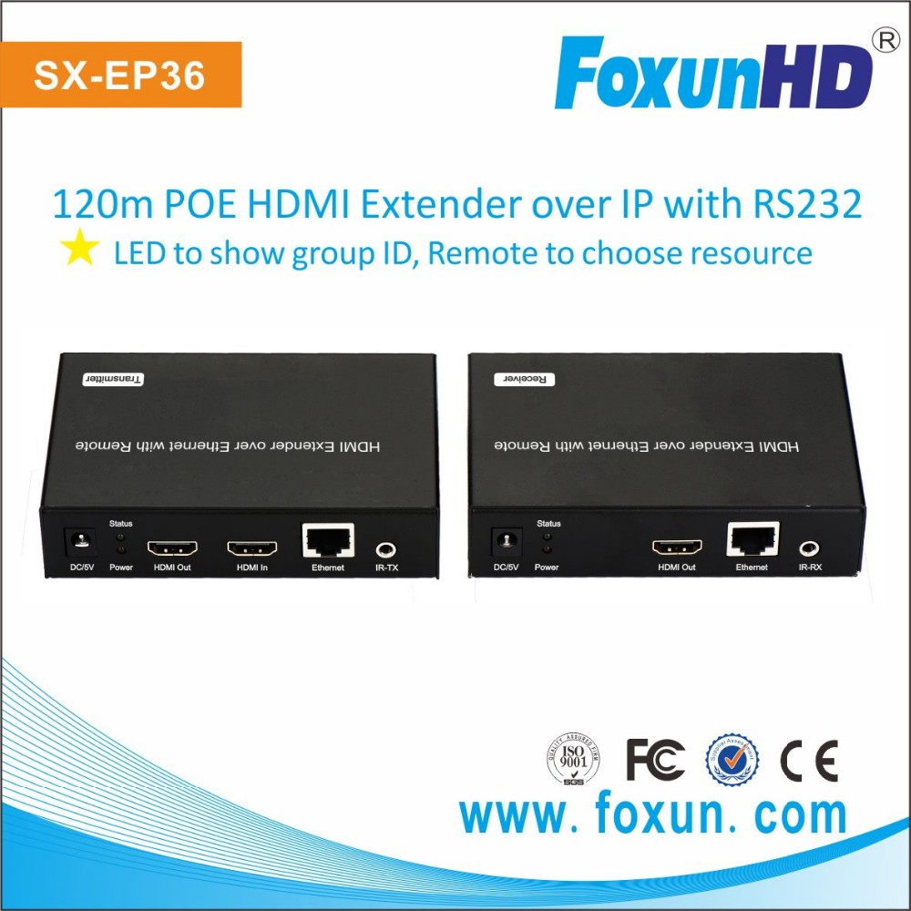 USB KVM hdmi extender over 120m single cat5e/ 6 cable support IR control RS232 passthrough