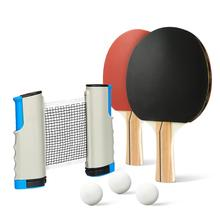 Portable Pingpong Set Includes Retractable Net for Any Table, 2 Performance Paddles/Rackets, 3-Star Balls, Premium Storage Case
