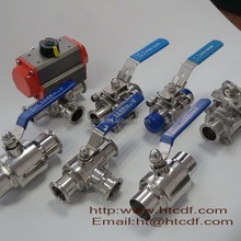 Ball valve 3 pieces body ss ball teflon seats PTFE fully encapsulated stainless steel tri-clamp ball valve