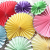 Mixed color Pastel Pinwheel Decorations - Set of 6 metallic gold foiled craft paper fan set