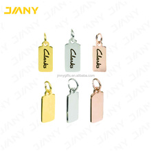 Small Custom Logo Metal Rectangle Jewelry Tags with Jump Ring
