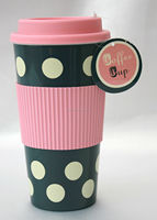 Thermal Insulated Tea Coffee Pink & Grey Polka Dot Mug Cup,plastic included coffee cup double-walled ceramic travel mug.