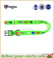 Brilliant green colorful dog collar with iron buckle dog printing