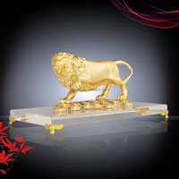 Lion - Gold Polished Metal Animal Figure Artifact Craft Home Decor