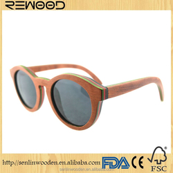 2016 Most popular four colors multicolor skateboard wood sunglasses