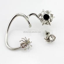 black crystal new design spider hook alloy earings gold/<strong>silver</strong> plated