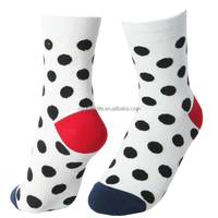 Haining GS china navy dots design red toe navy heel high quality protective cotton socks women