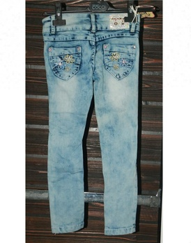 Royal wolf jeans manufacturer blue bleached wash 3 layers pockets side rhinestone and embroidered flower jeans