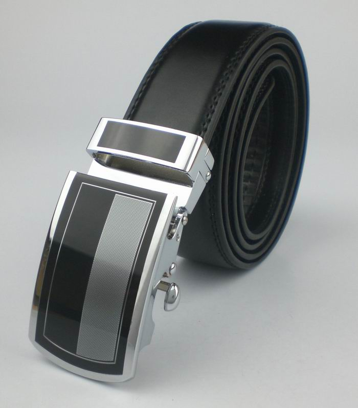 Fashion Black Belt For Men Embellished Metal Automatic Buckle