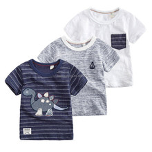 High quality kids clothes baby cotton custom printing t shirt design boy kids striped t shirts