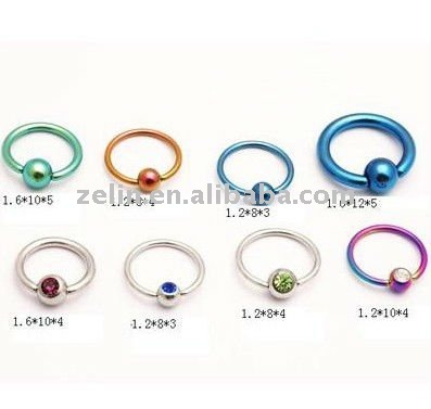 316l stainless steel plated mix color &Loop ball closure rings piercing body jewelry