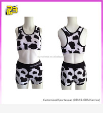 OEM sublimation cow print sports bra plus size ladies shorts