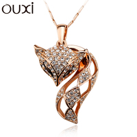 OUXI elegant ball style jewelry fox pendant made with Austria crystal /18K gold & rose gold plated alloy necklace 10904