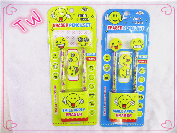 2017 new arrival children stationery sets product wholesale most popular emoji design pencil eraser set for <strong>school</strong> use