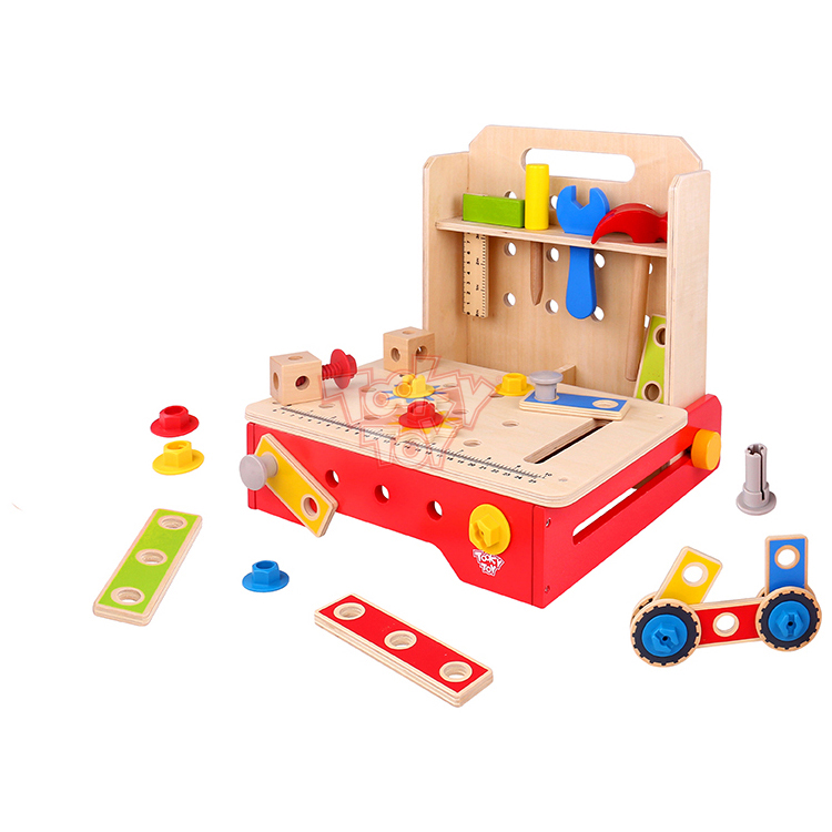 Intelligent diy Foldable Workbench wooden kids tool box kit set toy