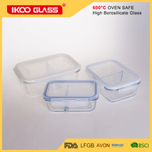 2017 Two partition Ridge Rectangle Heat Resistant Glass Food Container with PP lid