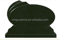 Oval black granite monument with base
