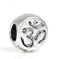 Zinc Based Alloy Chakra European Style Large Hole Charm Beads Round Antique Silver Yoga OM /Aum Carved About 11mm x 10mm