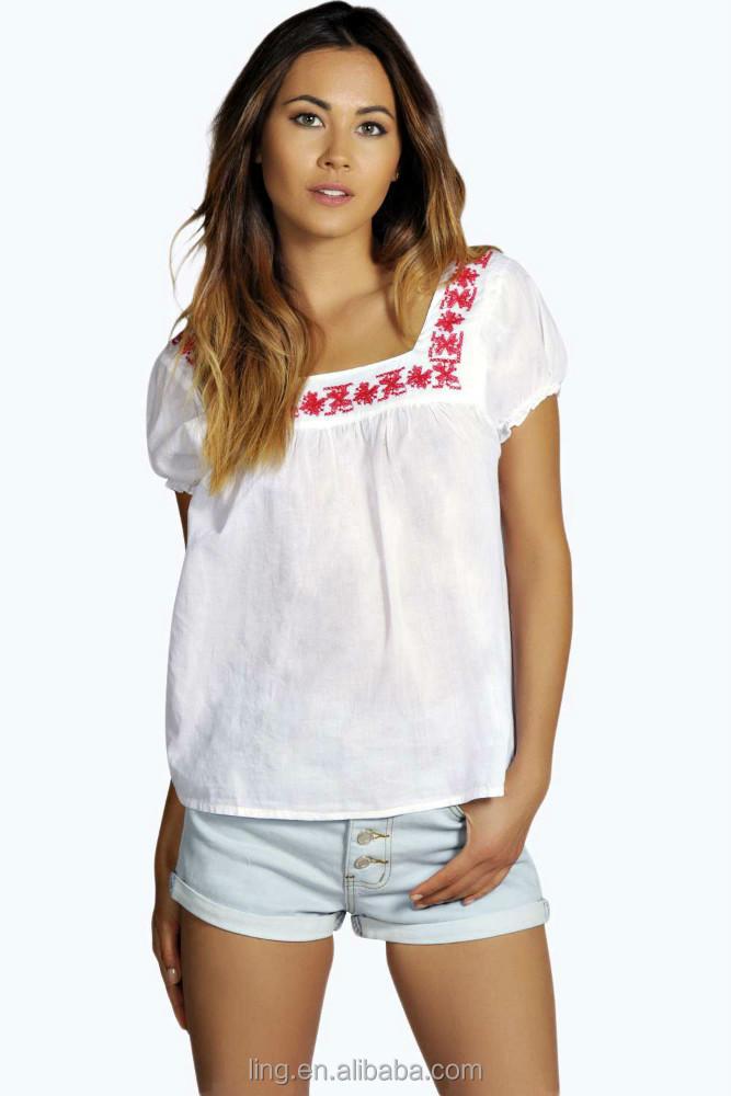 2015 New Design Summer Fashion Women Short Sleeve White ...