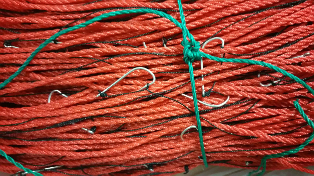 commercial fishing long line braided pe rope with branch line and hooks