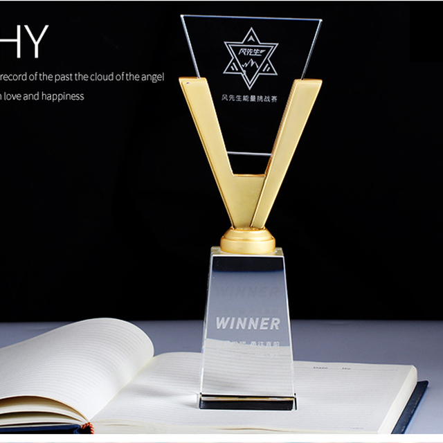 Metal V shape crystal plaque glass trophy with thick clear base