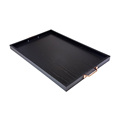 BSCI&FSC custom decorative handmade black oak wooden tray with handle