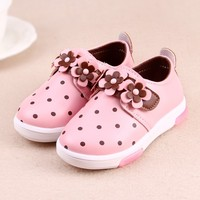 top quality children pink flower sports shoes/sf breathable kid flash light shoes/amazing sportsshoes