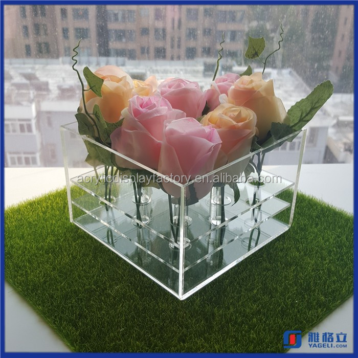 Elegant Design Clear acrylic flowers box flower box/packaging box for flowers