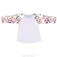 Easter flower printing baby organic cotton clothes ruffle raglan blank t shirt kid tops