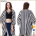 Black and White Stripe Print Chiffon Summer Jacket for Whomen Wholesale