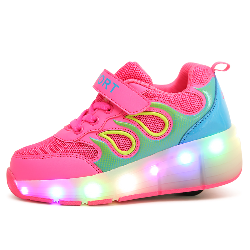 Low moq wholesale unisex wheels shoes OEM roller LED light up casual shoes wheels sneaker kids
