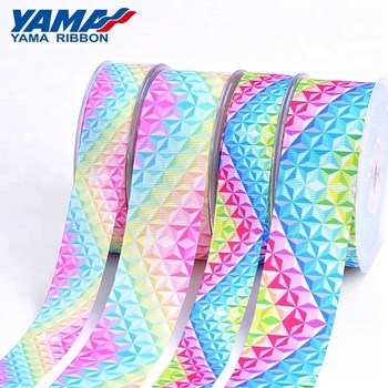 YAMA recycled colorful printed single side diamond design grosgrain ribbon tie bow