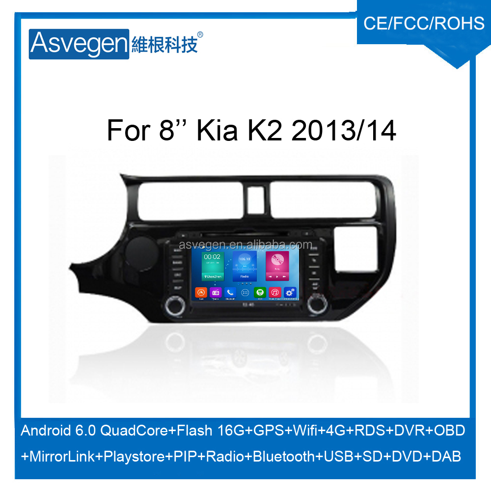 Wholesale Android Car DVD Player For 8inch Kia K2 2013-14 Car GPS Support Buletooth MP3 Wifi Playstore With Auto Spare Parts Car