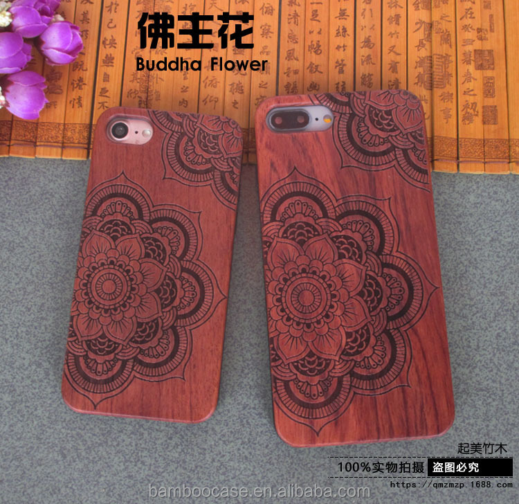 100% Wood Carving Cover Custom Case For Apple Iphone 6s 6 7 plus Cell Phone Cases TPU Shell Nature Wooden Bamboo Protector New